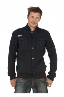 Mogul Strick Jacke Lars Combed Cotton Dark Blue